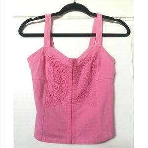 Black Poppy Juniors Crop Top Pink Size Small